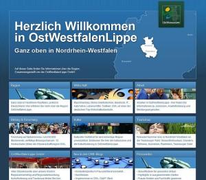 Startseite der Website der OstWestfalenLippe GmbH