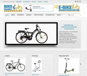 Startseite der Joomla Website bike4family.de