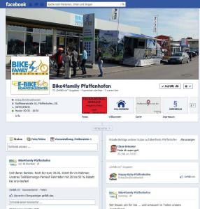 Die bike4family Fanpage in Facebook