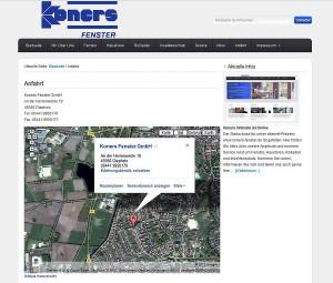 Einbindung Google Maps zur Anfahrt Koners Fenster
