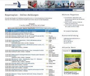 Regattaplan in der Website der Wettfahrtgemeinschaft Dümmer e.V.