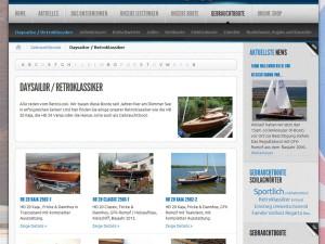Einstiegsseite Gebrauchtbootmarkt: Hier  Daysailor und  Retroklassiker
