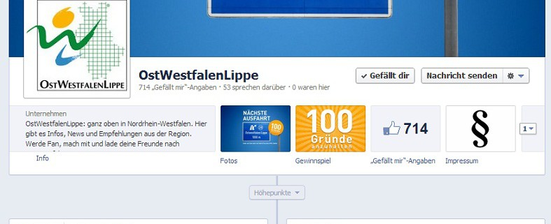 Facebook-Fanpage der OstWestfalenLippe GmbH