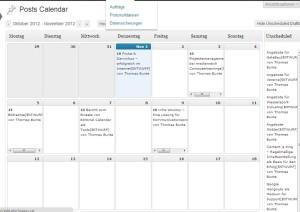 Kalender Übersicht des Plugins