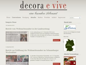 Website Decora e vive- Pressebereich