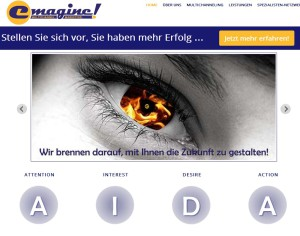 Startseite der Website emagine!MARKETING