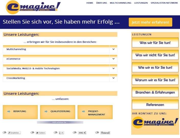Website für emagineMARKETING erstellt