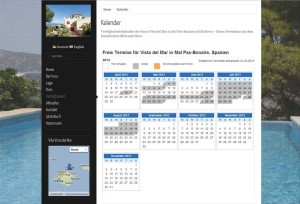 Finca Vista del Mar Website mit Verfügbarkeitskalender