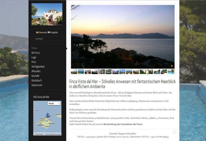 Finca Vista del Mar Website Startseite