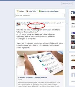Facebook Bearbeiten Funktion (Darstellung im Posting)