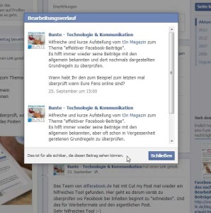 Bearbeiten in facebook - Bearbeitungsverlauf