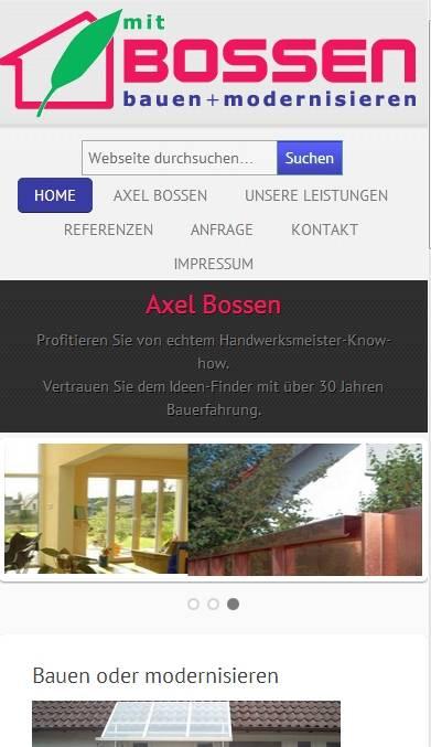 Axel Bossen Website - Responsives Layout Auflösung für Tablets