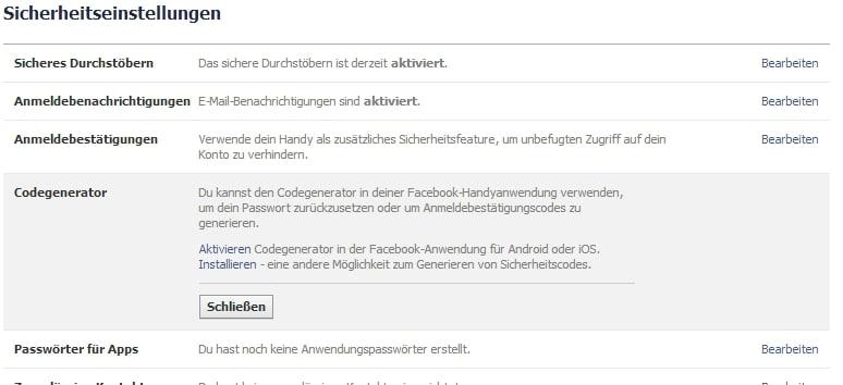 Facebook Sicherheit Codegenerator -Aktivierung