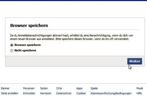 Facebook-Sicherheit Abfrage Anmeldebenachrichtigung