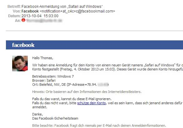 Facebook-Sicherheit-Mail
