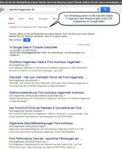 Nach nur 4 Tagen schon 3mal mehr Seiten im Google Index - Ford Hagemeier