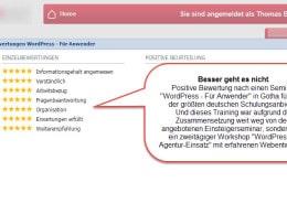 Aktuelle Bewertung einer WordPress für Anwender Schulung