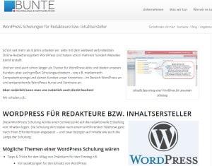 WordPress Schulungen für Redakteure