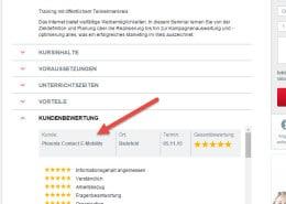 OnlineMarketing Schulung Kursprogramm und Kundenbewertung