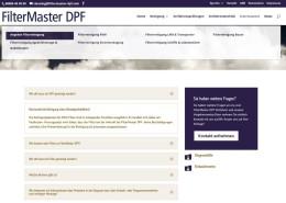 FilterMaster DPF FAQ Seite mit Akkordion Darstellung der Inhalte